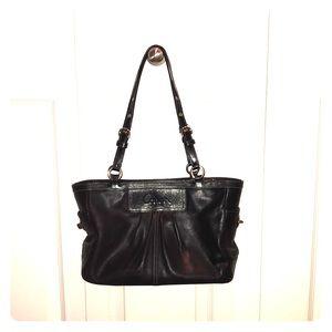 Authentic Coach black double strap purse